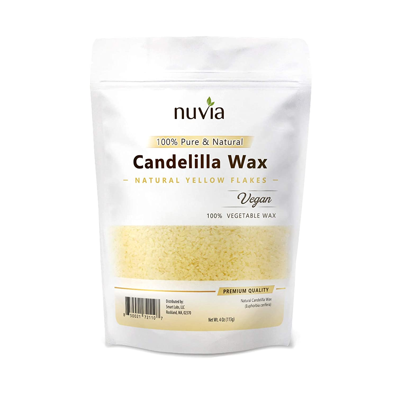 Candelilla Wax 100% Pure & Natural, Vegan - Vegetable Wax; Food & Cosmetic Grade; 4 oz by Nuvia Organics