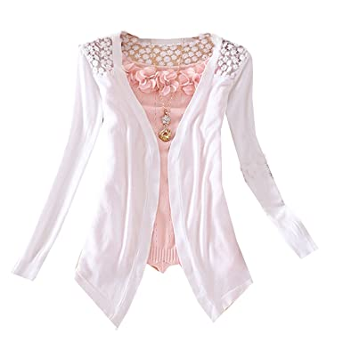 Women's Floral Hollow Thin Knit Cardigan Sweater (White) at Amazon ...
