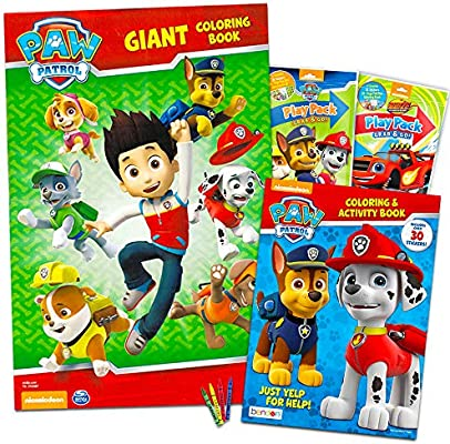 - Amazon.com: Paw Patrol Coloring And Activity Super Set -- 2 Jumbo Paw  Patrol Coloring Books With Bonus Paw Patrol And Blaze Stickers (Paw Patrol  Party Pack): Toys & Games