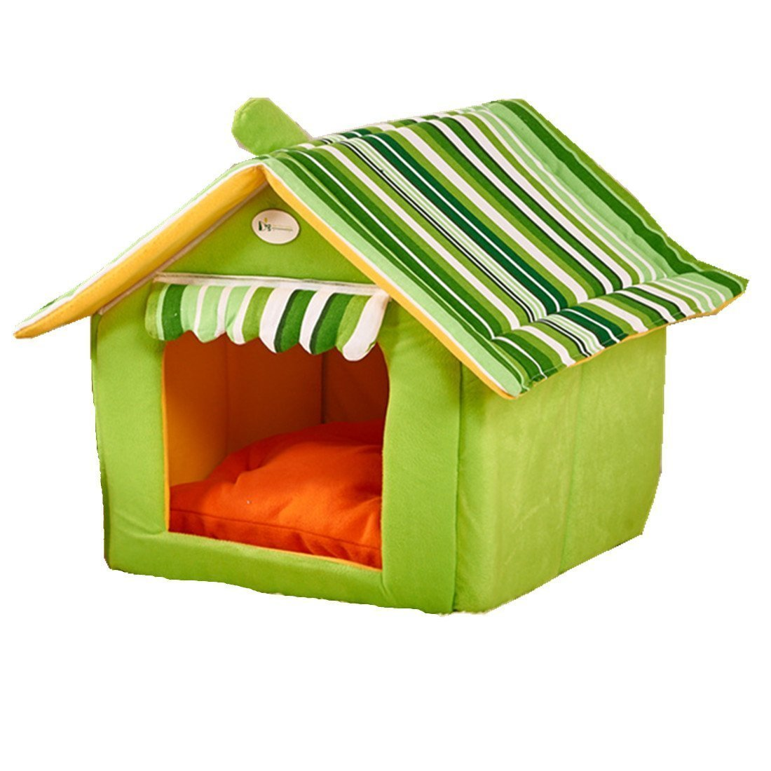 GREEN L GREEN L Dog Cave Cat Cave Dog House Dog Bed Cat Bed Dog House Pet Kennel Removable Roof Small Pet (L, GREEN)
