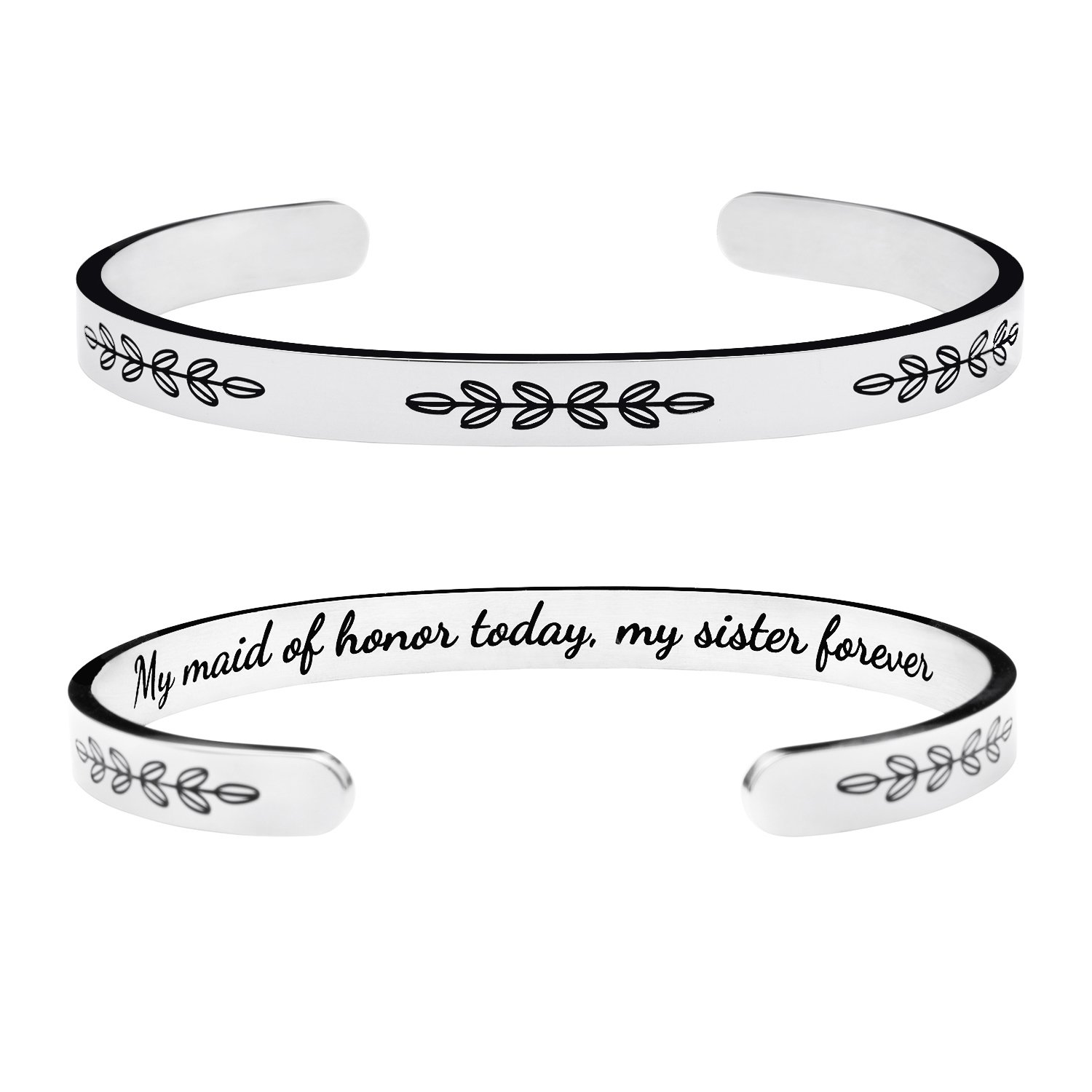 Yiyangjewelry Bridesmaid Gift Bridal Wedding Party Bangle Cuff Bracelet Inspirational Friendship Sister Engraved My Maid of Honor Today My Sister Forever
