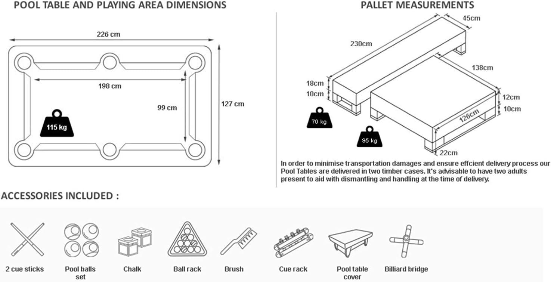 Radley Mesa de Billar 7 pies Diamante de Alta Brillante + Opciones ...