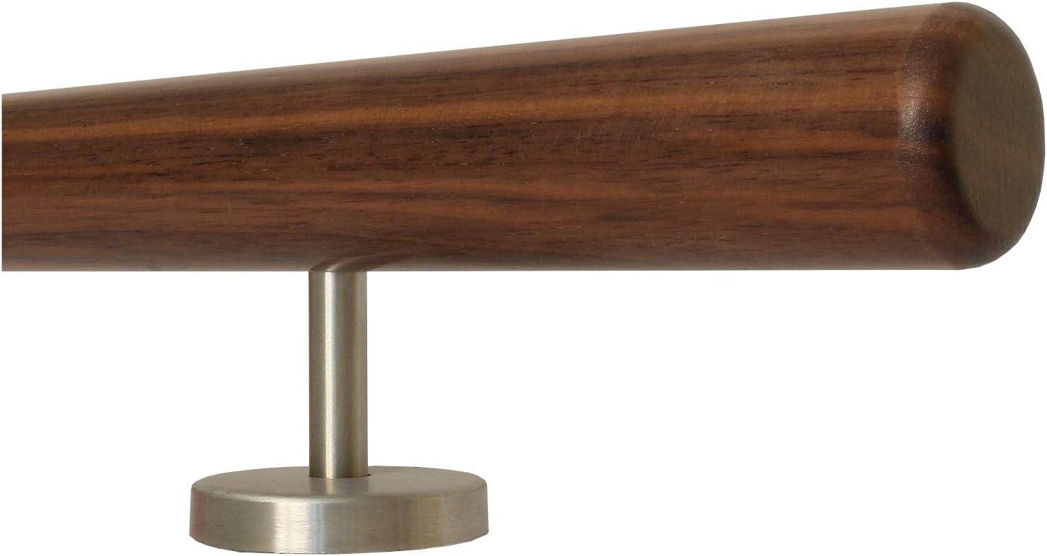 Nussbaum Gel/änder Handlauf Treppe Holz Griff gerade Edelstahlhalter Enden =Halbrunde Edelstahlkappe L/änge 30-500 cm aus einem St/ück//zum Beispiel L/änge 160 cm mit 3 gerade Halter