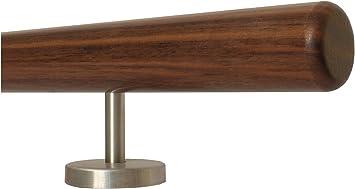 Buche Holz Treppe Handlauf Gel/änder Griff gerade Edelstahlhalter L/änge 30-500 cm aus einem St/ück//zum Beispiel L/änge 120 cm mit 2 gerade Halter Enden = Halbrunde Edelstahlkappe