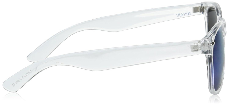 zeroUV ZV-8025h Retro Matte Black Horned Rim Flash Colored Lens Sunglasses Clear 58mm