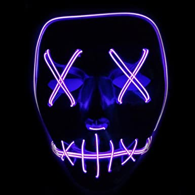 Yanqing Halloween Mask LED Light up Funny Masks Great Festival Cosplay Costume Supplies Party Masks Glow