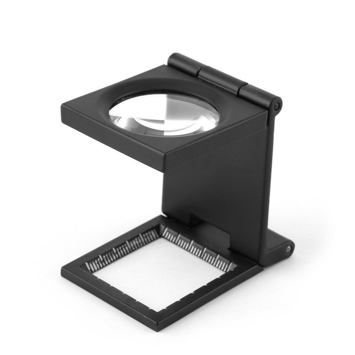 Yosoo 10X 28mm Mini dreiaufklappbaren 10X Bildschirmlupe Zink Legierung Lupe mit Maß stab fü r Textile optische Schmuckwerkzeug yosoo-uk318fdj