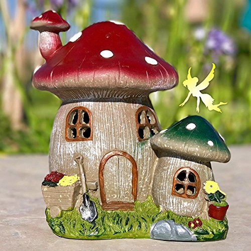 Fairy Garden House: Solar Power Mushroom Light Creates an Enchanting Glow at Night | Makes Any Outdoor Garden Magical | Lights Up Automatically From Dusk to Dawn | The Best Gift For All Fairy Lovers
