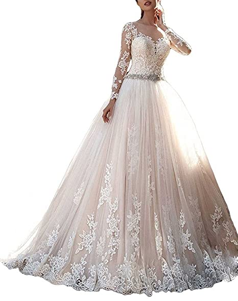 bb95752e01c APXPF Women s Long Sleeves Lace Tulle Wedding Dress For Bride Chapel Train  Champagne US2
