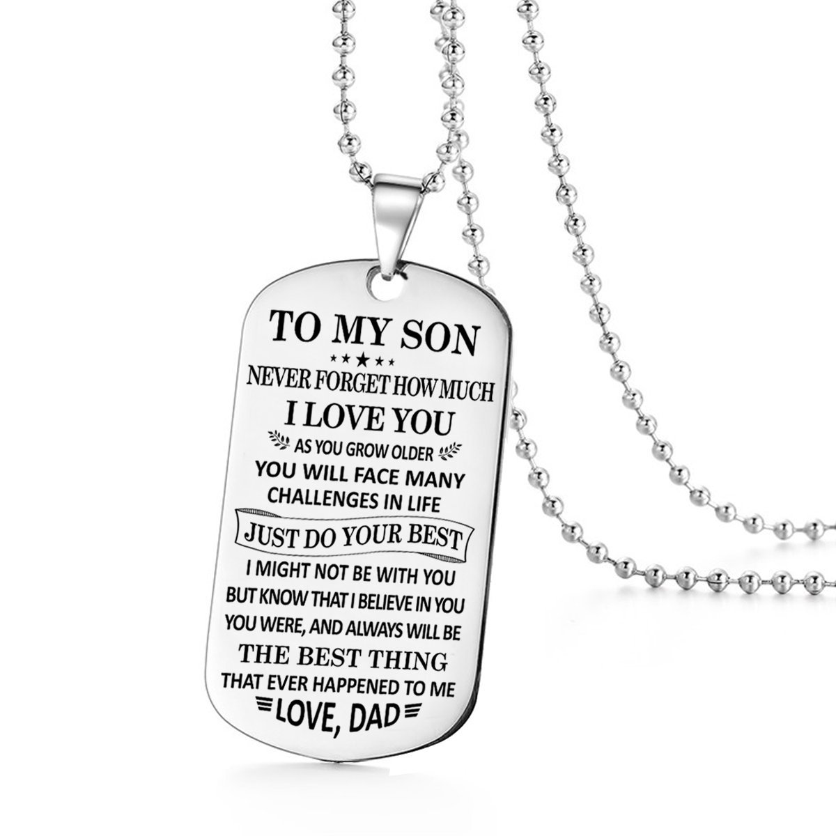 To My Son Just Do Your Best Love Dad Daddy Father Dog Tag Military Air Force Navy Coast Guard Necklace Ball Chain Gift for Best Son Birthday Graduation Stainless Steel