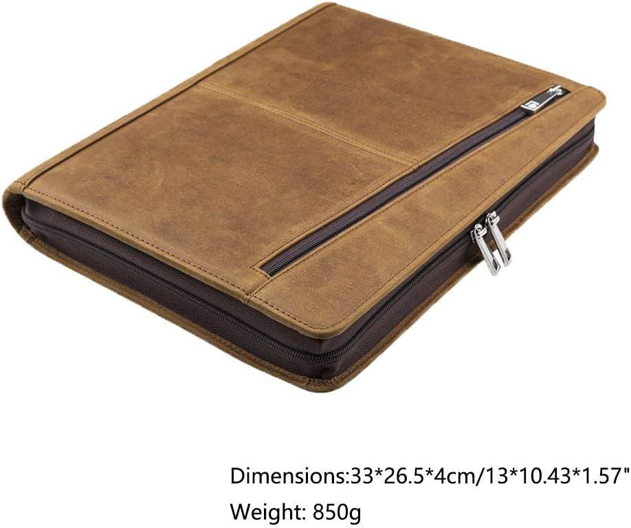 Gesch/äftsmappe Cohokori Handgearbeite Echtleder Konferenzmappe mit Rei/ßverschluss f/ür iPad Pro 12.9 2018 3rd Gen Braun Tablet-Tasche A4-Mappe A4 Dokumentenmappe