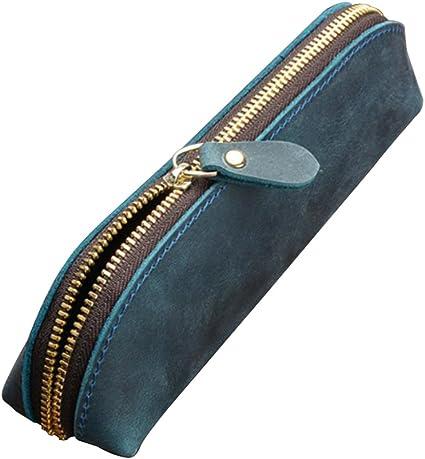 Fyore Lusso PU Astuccio in Pelle Piccolo per Sacchetta Cerniera in Metallo Portapenne Pennelli Make up Blu