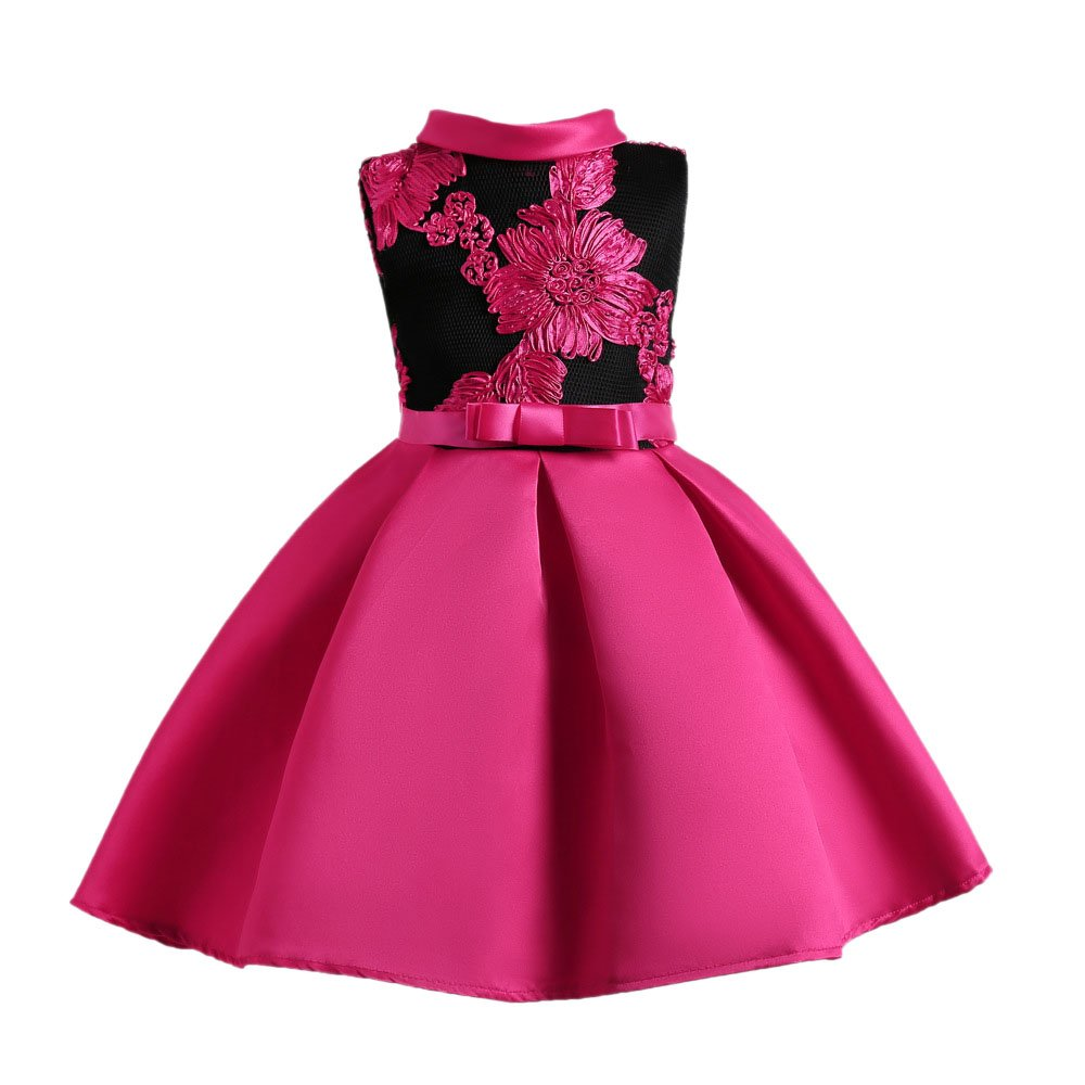 Meteora Princes Dresses Flower Dress for Girl Party Wedding Bridesmaid Dresses (Rose red, 3-4T)
