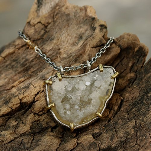 White druzy pendant necklace with stunning large crystal structure in silver bezel setting with brass accent prongs