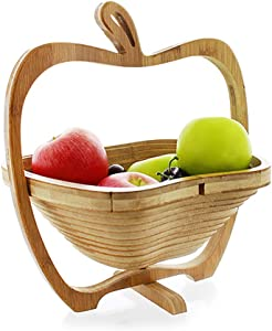 PLLXY Collapsible Bamboo Fruit Bowl,Apple Shaped Veggie Fruit Storage Basket Tabletop Creative Fruit Basket-a