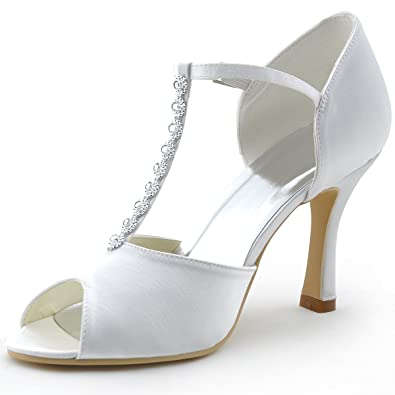 Amazon.com | ElegantPark MR-001 Women\'s Peep Toe T Strap Rhinestone ...