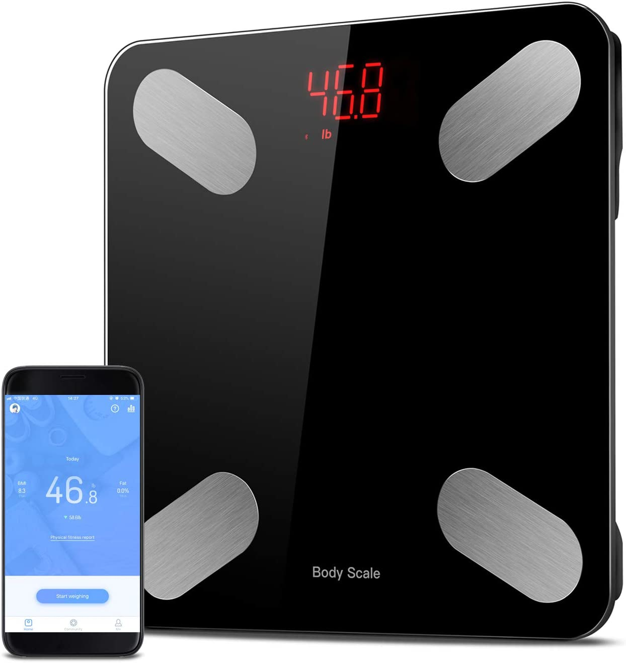 Sunvito Bluetooth Body Fat Scale,Smart BMI Scale Digital Bathroom Weight Scale,Auto Monitor 23 Body Composition Analyzer with Smartphone APP 396 lb Black