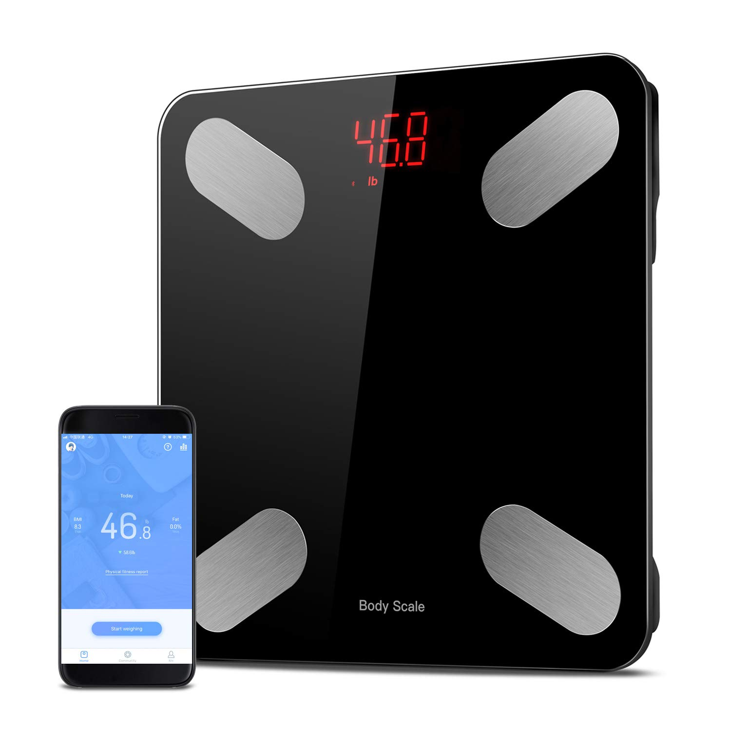 Smart Bluetooth Body Fat Scale - Digital Bathroom Weight Scale APP to Monitor 23 Body Composition,Body Analyzer with Smartphone App for Body Weight, Fat, Water, BMI, BMR, Muscle Mass