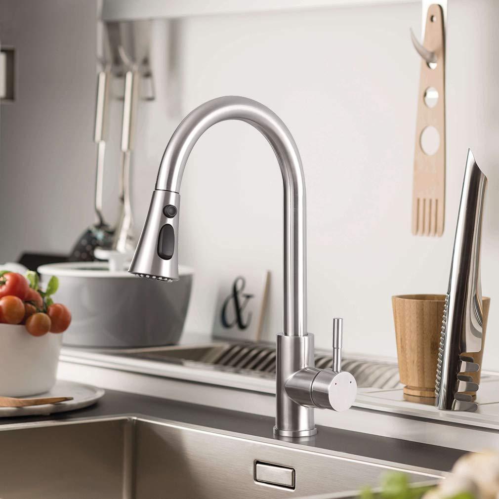 Acero Inoxidable CECIPA Grifo Cocina con 3 Modos de Rociador Extra/íble 360/º Giratorio Grifo con Ducha para Fregadero de Cocina
