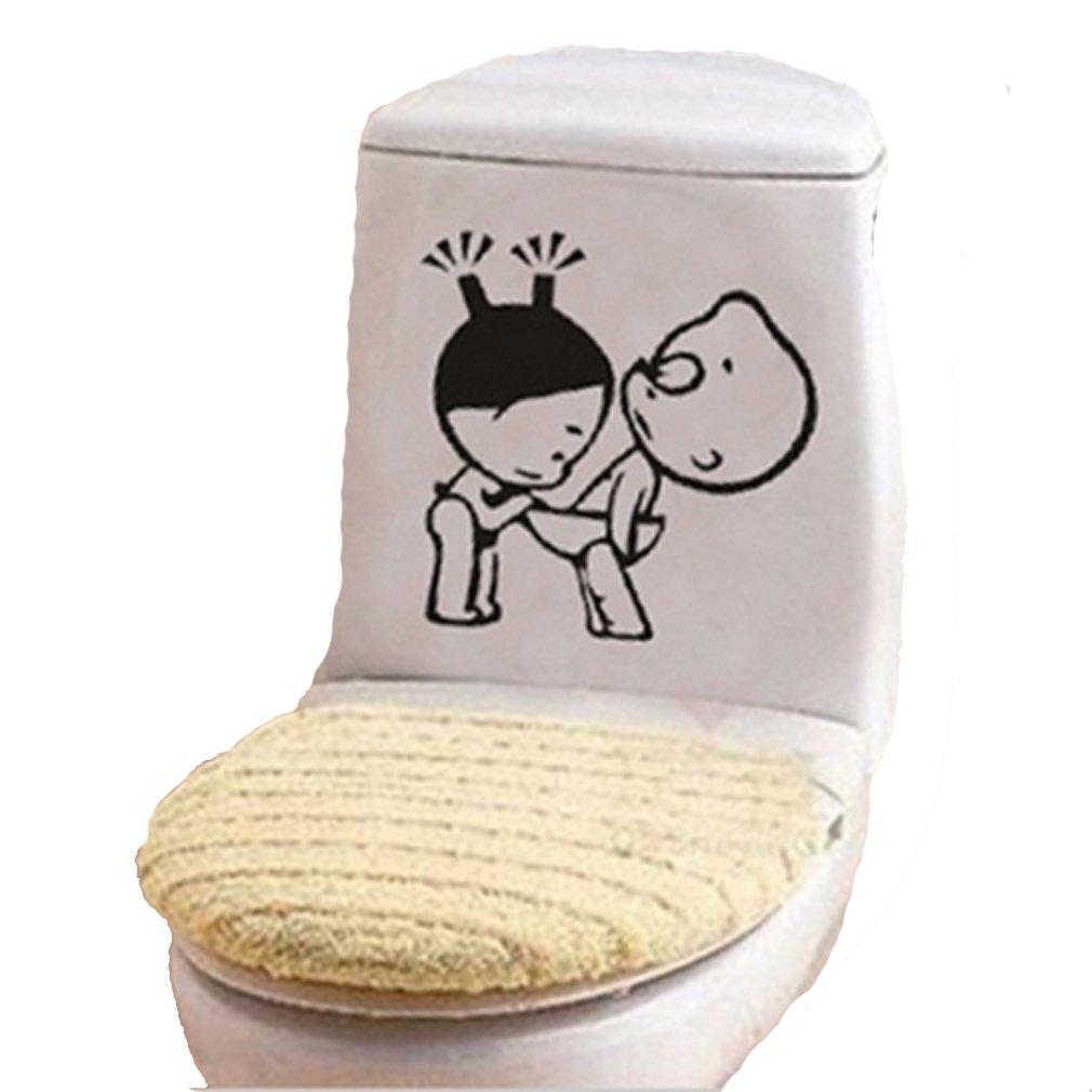 HENGSONG Toilet Sticker Wall Bathroom Waterproof Removable Stickers (Cute baby) mei_mei9