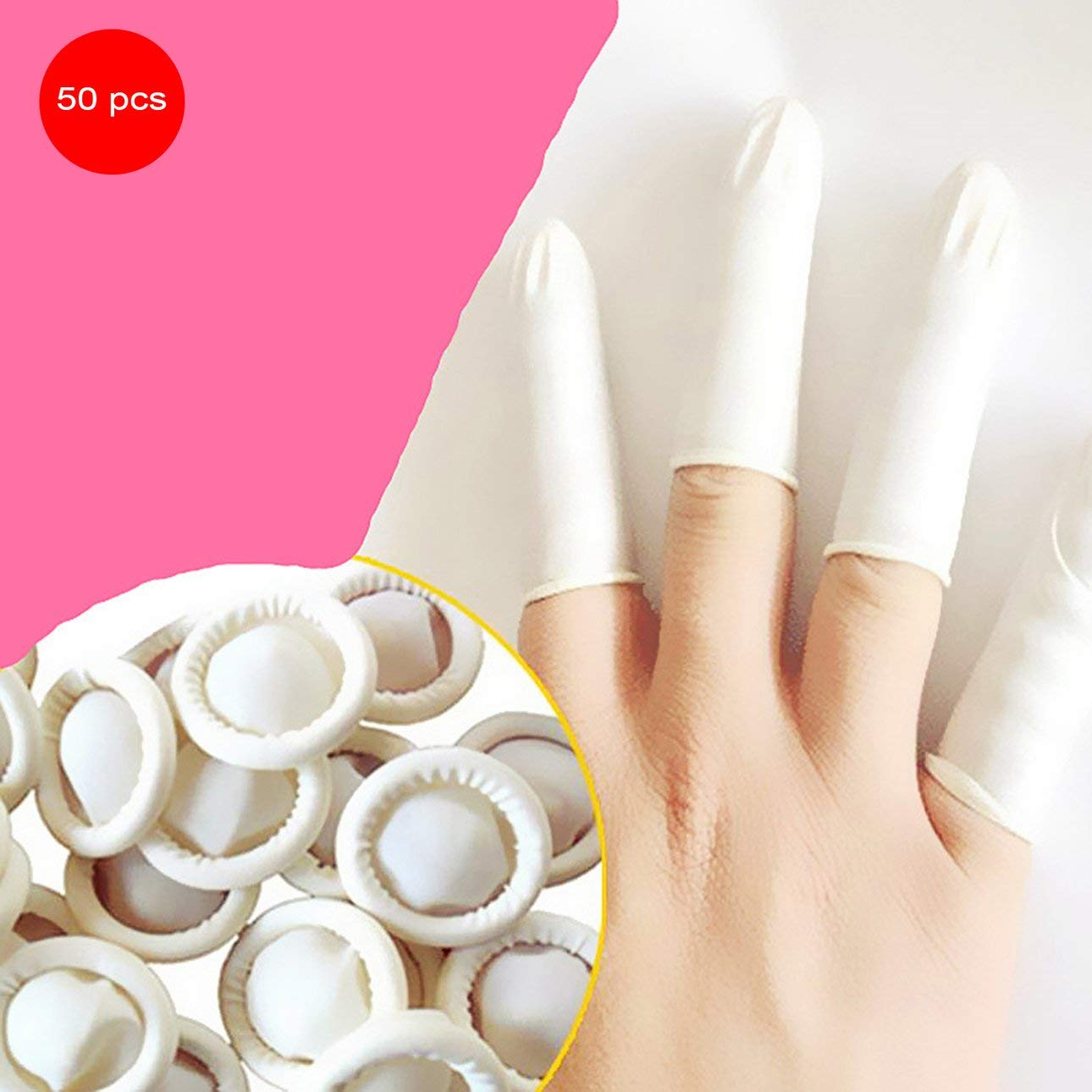 Liobaba 50PCS/SET Natural Latex Anti-Static Finger Cots Practical Design Disposable Makeup Eyebrow Extension Gloves Tools by Liobaba (Image #6)