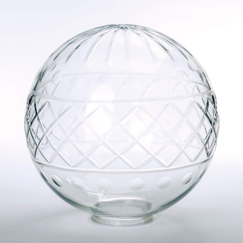 Handgeschliffene Glaskugel /Ø 150mm klar mit Loch 42mm Jugenstil Glas Ersatzglas Schirm Kugel
