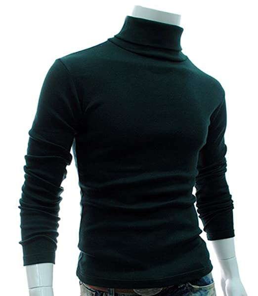 ddf8376ae2 Image Unavailable. Image not available for. Color  Bstge Men s Slim Fit  Pullover Turtleneck Knitwear M Dark Green