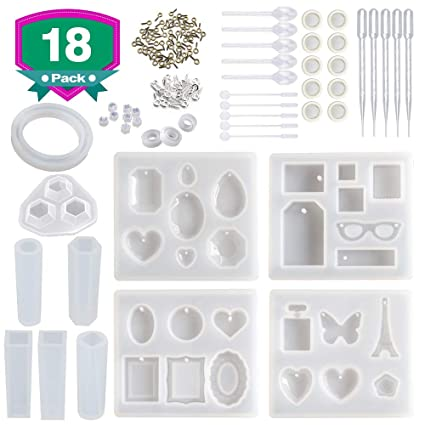 Resin Molds for Jewelry,18 Pack Silicone Molds Kit for Casting Epoxy Resin  UV Resin,Include Pendant, Bracelet, Earring, Ring,Diamond Molds,with Resin