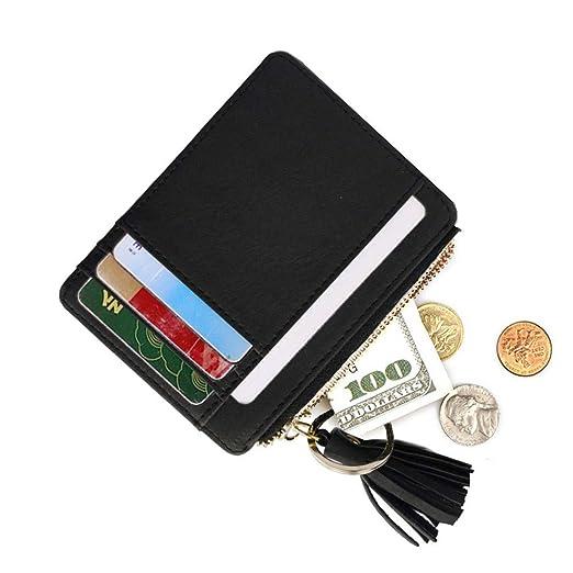 3b5b59933566 AnnabelZ Card Case Holder Slim Front Pocket Wallet Leather Coin Change  Purse Keychain for Women