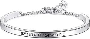 MeMeDIY Pulsera Personalizada Nombre De Grabado Identificación De Identificación Personalizada para Hombres Mujeres Niñas Brazalete Ajustable De Acero Inoxidable Resistente Al Agua