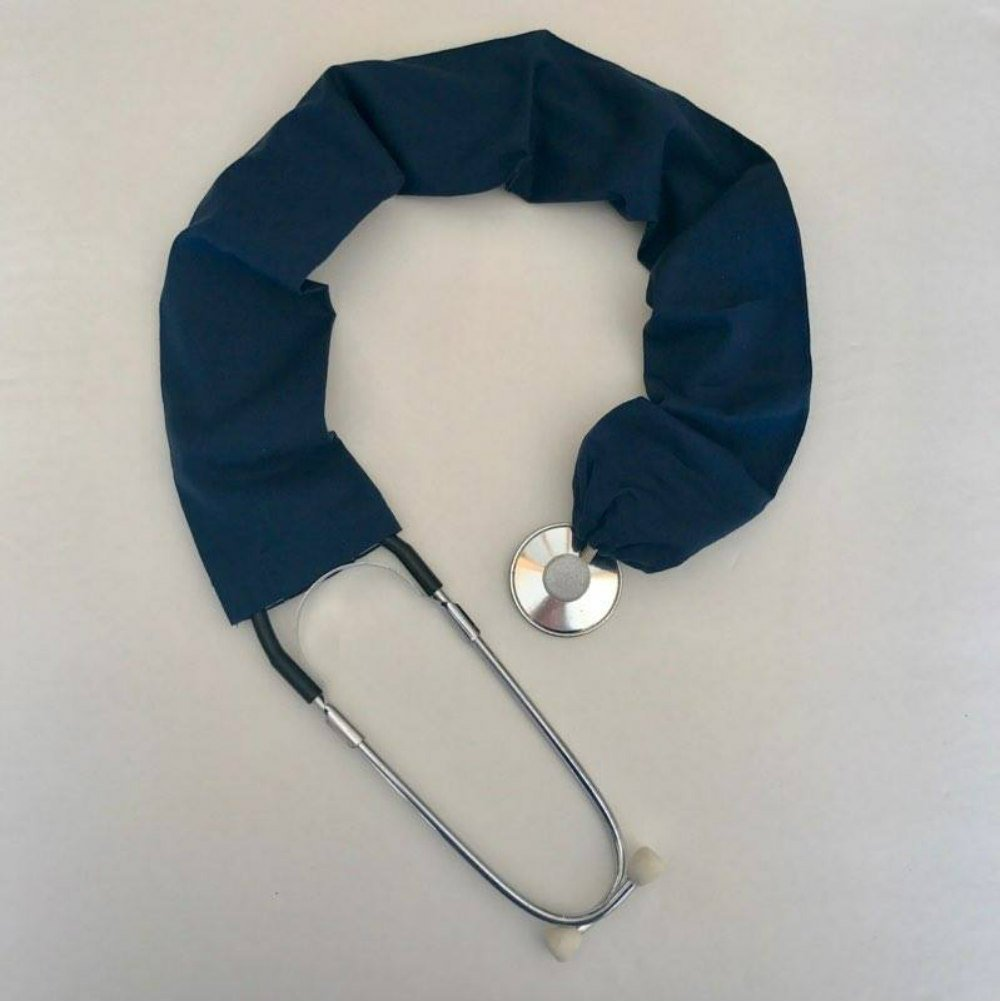 Stethoscope Covers Handmade Variety Patterns Colors 100% Cotton Scrunchie (Solid Blue)