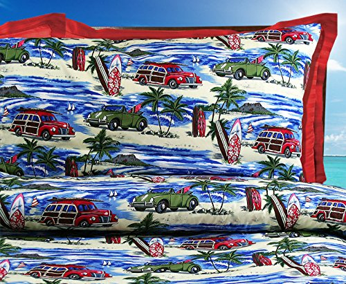 Beach Bedding Comforter - Queen / Full Size with Two (2) Std Size Pillowcases by Dean Miller Surf Bedding