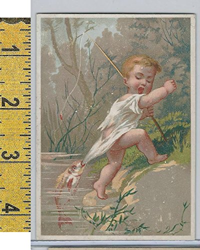Victorian Card, 1890's, Children, Fishing, Biting Fish (A10) ()