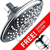 HotelSpa Super-Value Pack: High-Power 6-Setting 6-inch Rain Shower Head PLUS Universal Shower Filter with 3 Stage Cartridge. Enjoy Luxurious Spa Experience PLUS healthier shower water!