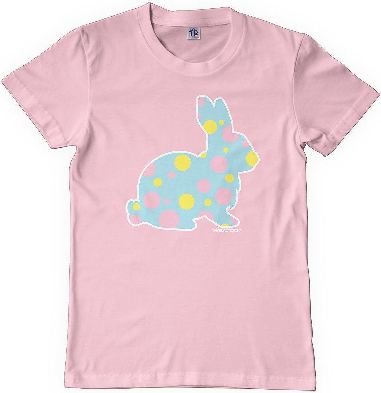 Threadrock Big Girls Blue Polka Dot Bunny Youth T-Shirt