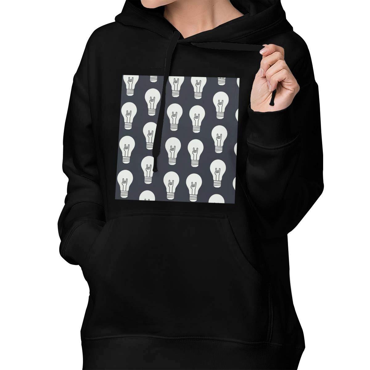 Hand Gestures in Light Bulb Hoodie Womens Casual Zip-up Sweatshirts Jackets Coats Pullover Hoodie with Drawstring Hood