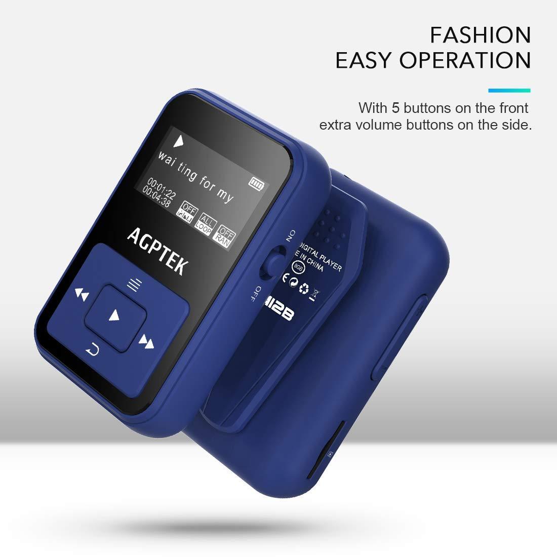 AGPtek A12 8 GB Clip Bluetooth Reproductor de MP3, deportes Clip sonido de alta fidelidad reproductor de música con Radio FM, 1.1 (OLED, a prueba de sudor ...