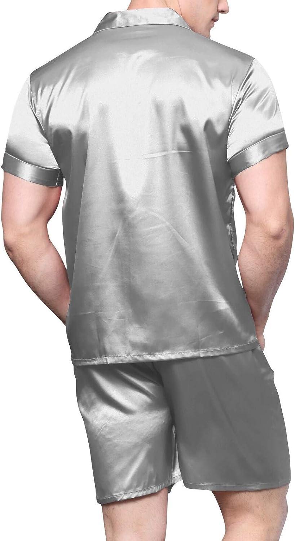 Mens Satin Pajamas Short Button-Down Pj Set Sleepwear Loungewear