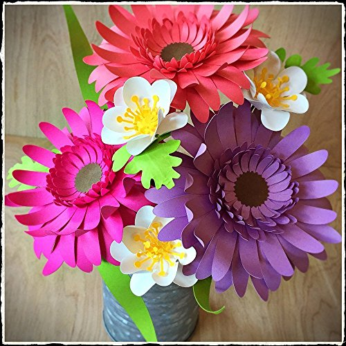 Gerbera Daisy Paper Flower Arrangement in Tin Can