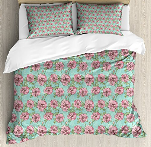 Twig Style Headboard - Lunarable Floral Queen Size Duvet Cover Set, Hand Drawn Style Multi Petal Flowers with Lacy Leaves on Green Twigs, Decorative 3 Piece Bedding Set with 2 Pillow Shams, Turquoise Dried Rose Mint