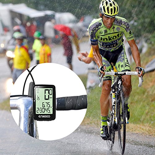 Enkeeo Wired Bike Computer USB Rechargeable Bicycle Speedometer Odometer with 12 Hour Backlight Display, Current/AVG/MAX Speed Tracking, Trip Time/ Distance Recording for Cycling by Enkeeo (Image #7)