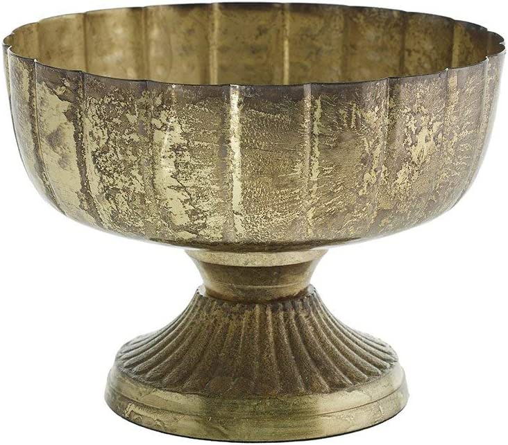 Afloral Distressed Gold Metal Compote Bowl