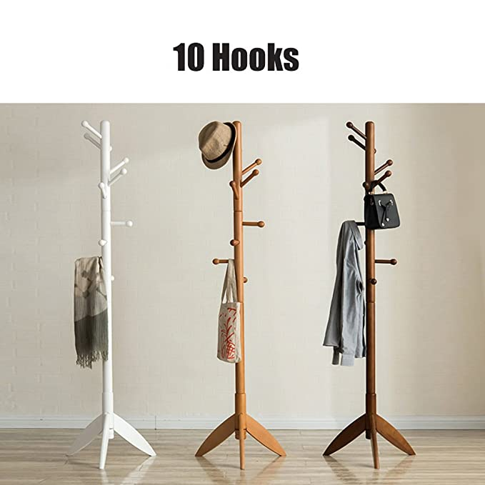 SWEET&HONEY Cloth hanger rack stand Tree hat hanger holder Free standing Solid wood coat rack Floor hanger For bedroom Living room Hall-10-hooks-H ...