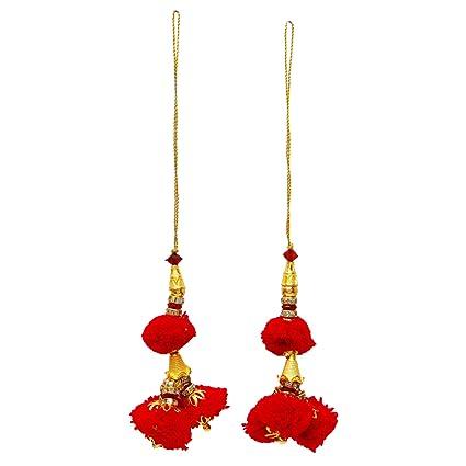 Blouse Decorative Latkans Indian Keychain Pom Pom Tassels Crafting Supply 1 Pair