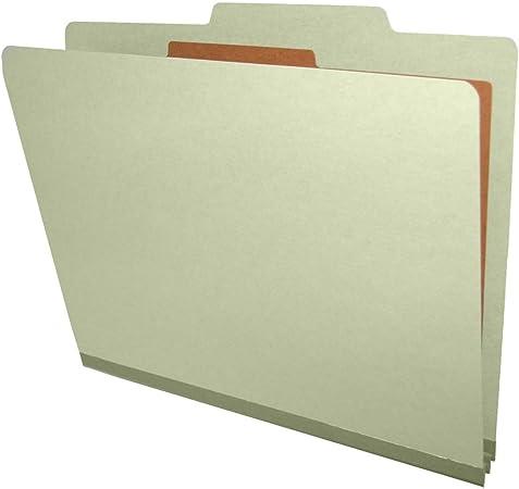 2//5 Cut ROC Top Tab Legal Size 2 Dividers Light Blue Box of 10 25 Pt Pressboard Classification Folders