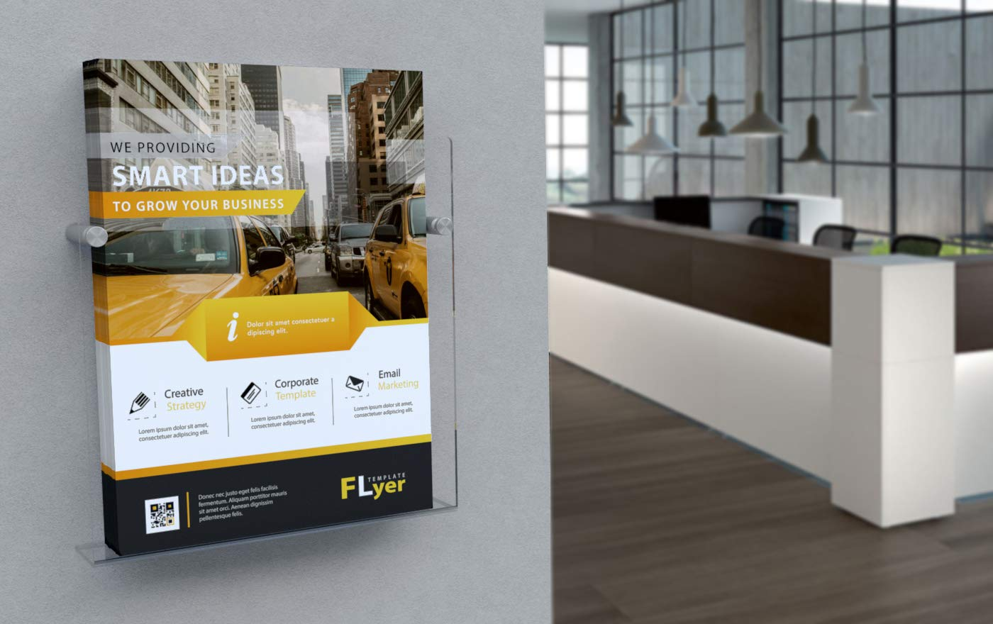 Espositore in Plexiglass con fissaggi in acciaio adv-smart Porta Depliant Brochure da parete A4 verticale 21x30 cm