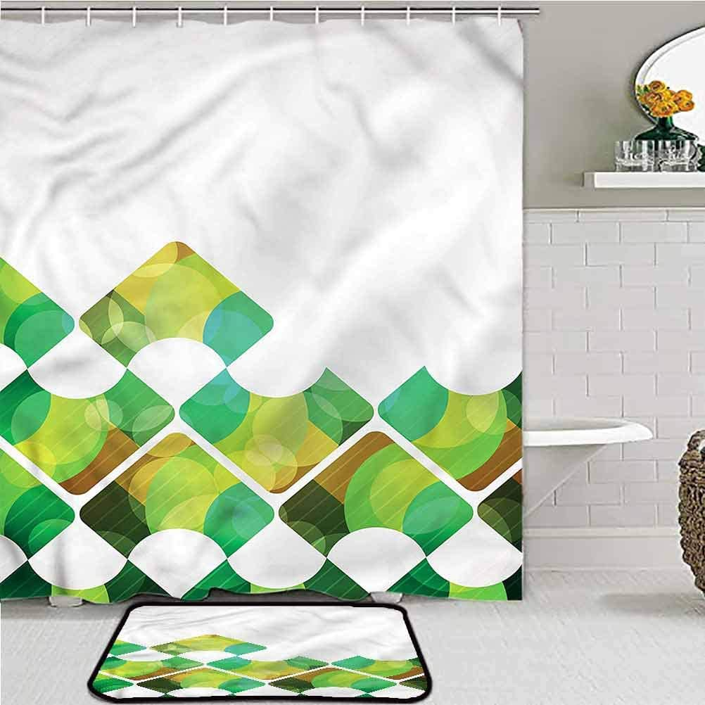 ScottDecor Abstract Bathroom Shower Curtain Set Triangular Shapes Symmetry Desk Chair mat for Carpet 60W x 72L/16W x 24L Inch