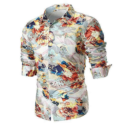 Wintialy Personality Men's Summer Casual Slim Long Sleeve Printed Shirt Top Blouse Beige ()
