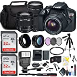 Canon EOS Rebel T6 DSLR Camera 18-55mm Lens 75-300mm Lens, Flash, Two Memory Card Accessory Combo Kit