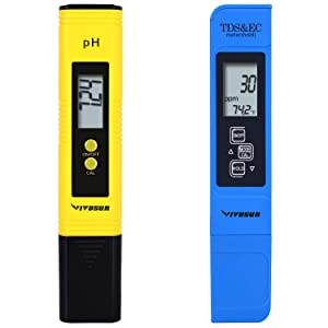 VIVOSUN pH & TDS Meter Combo, 0.05ph High Accuracy Pen Type pH Meter & +/- 2% Readout Accuracy 3-in-1 TDS EC Temperature Meter